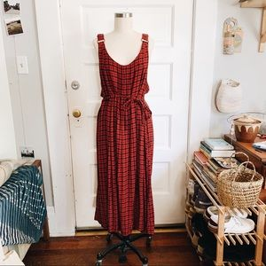 Vintage 90s red plaid maxi overall dress w/ tie M